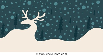 Silhouette of a reindeer in the snow among the trees