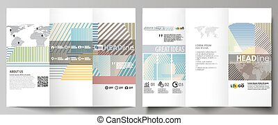 Minimalistic design with lines, geometric shapes forming beautiful background. Tri-fold brochure business templates on both sides. Easy editable abstract vector layout in flat style.