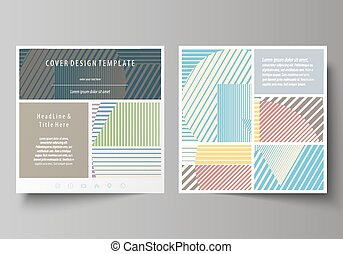 Minimalistic design with lines, geometric shapes forming beautiful background. Business templates for square brochure, magazine, flyer, booklet or report. Leaflet cover, abstract vector layout.