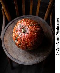 one orange pumpkin stands on old brown chair