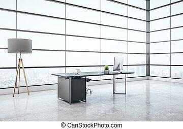 Minimalistic grey coworking office interior