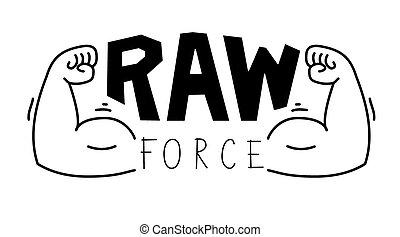 Minimalistic gym, fitness logo. Raw force. Vector illustration