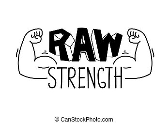 Minimalistic gym, fitness logo. Raw strength. Vector illustration