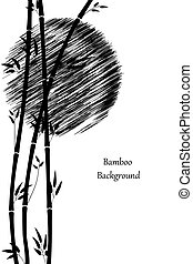 Minimalistic illustration. Bamboo and the sun. Black stems and leaves of bamboo on white background. Vertical format. Vector image