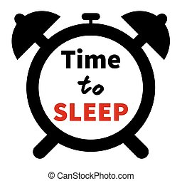 Minimalistic illustration of a clock with time for sleep text. Isolated