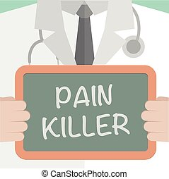minimalistic illustration of a doctor holding a blackboard with Pain Killer text, eps10 vector