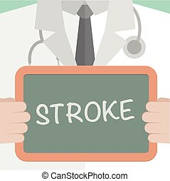 minimalistic illustration of a doctor holding a blackboard with Stroke text, eps10 vector