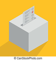 minimalistic illustration of a white ballot box, symbol for voting and politics