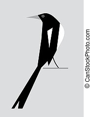 Minimalism image of magpie on a gray background
