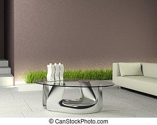 minimalistic, interior, con, marrón, pared, y, blanco, piso