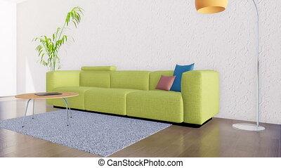 Minimalistic interior with empty white wall 3D - Bright...