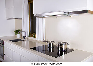 Minimalistic kitchen - Minimalistic white kitchen with two...