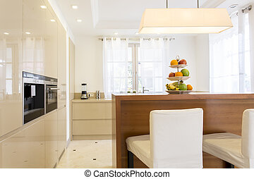 Minimalistic kitchen with built-in cabinets