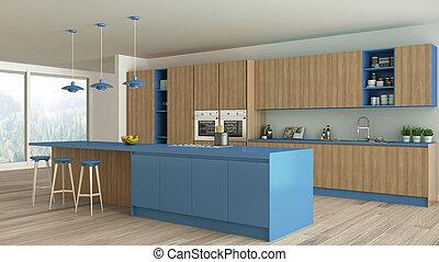 Minimalistic kitchen with wooden and blue details, scandinavian interior design