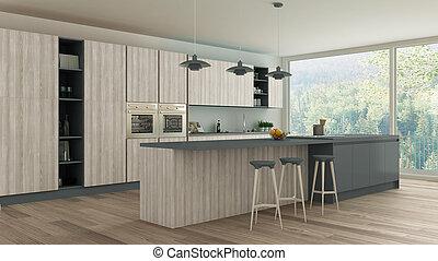 Minimalistic kitchen with wooden and gray details, scandinavian interior design