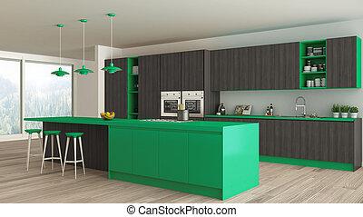 Minimalistic kitchen with wooden and green details, scandinavian interior design