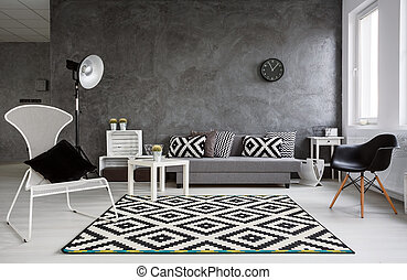 Minimalistic living room in grey - Grey living room with ...