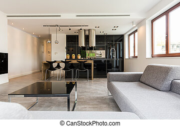 Minimalistic living room combined with a kitchen and dining area