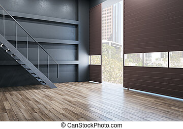 Minimalistic loft style interior with stairs