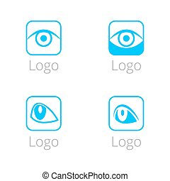 Minimalistic logo blue eyes vector illustration