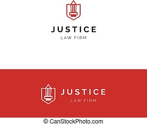 Minimalistic logo with sword and shield. Law firm vector...