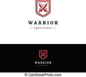 Minimalistic logo with two swords and shield. Abstract...