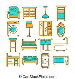 Minimalistic modern convenient furniture isolated flat illustration set