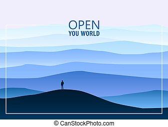 minimalistic, paisaje de montaña, abierto, su, mundo, solo, explorador, horizonte, perspectiva, vector, ilustración, aislado, caricatura, estilo
