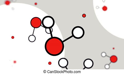 Minimalistic red and white cartoon molecule models. Loopable motion background