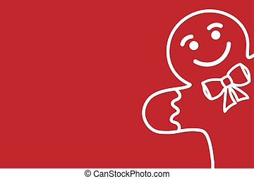 Minimalistic red christmas background with white silhouette of gingerbread man. Modern trendy template for banner, card, poster with copy space. Vector EPS10 illustration