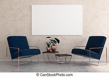 Minimalistic room interior with armchairs, decorative plant and empty billboard on wall. Mock up, 3D Rendering