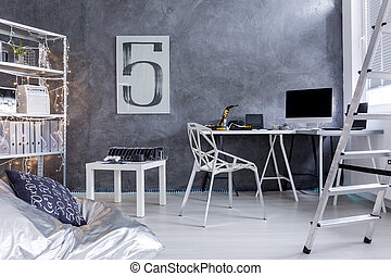 Minimalistic room with ladder and bean bag chair - ...