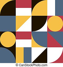 Minimalistic seamless abstract geometry artwork vector background from simple shapes and figures for web design