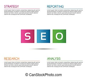 Minimalistic seo infographic template for your business project, vector illustration