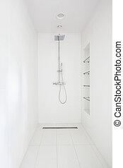 Minimalistic shower in modern bathroom
