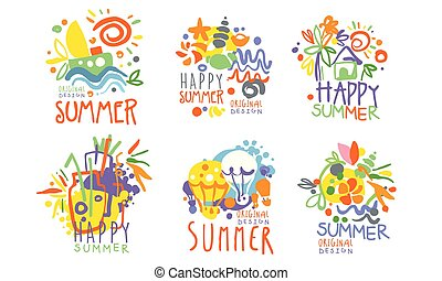 Minimalistic summer pictures with lettering. Vector illustration.