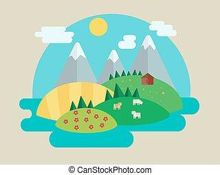 minimalistic, vecteur, paysage, illustration, nature