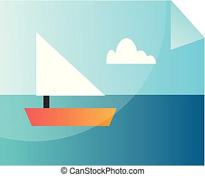 Minimalistic vector illustration of an image of the sea on a white background