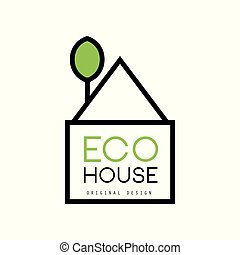 Minimalistic vector logo of eco-house with green tree instead of chimney. Ecological construction. Sustainable architecture