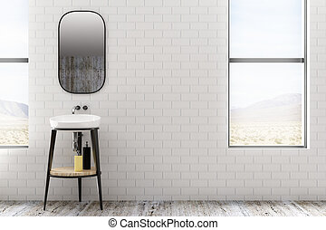 Minimalistic white brick bathroom
