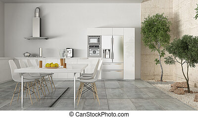 Tuin ontwerp innerlijke interieur groen wit minimaal keuken