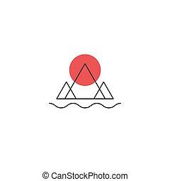 minimalny, rzeka, ikona, słońce, góry