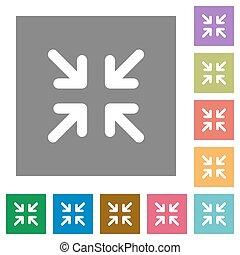 minimize, lägenhet, fyrkant, ikonen