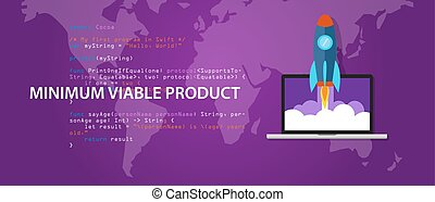 minimum viable product MVP start-up rocket launch programming code syntax vector