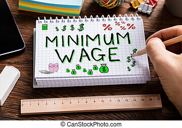 Minimum Wage And Social Security - Hand Drawing Minimum Wage...