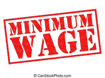 MINIMUM WAGE red Rubber Stamp over a white background.