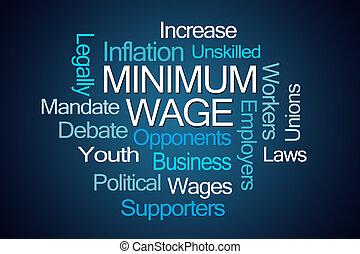 Minimum Wage Word Cloud on Blue Background