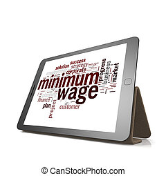 Minimum wage word cloud on tablet image with hi-res rendered...