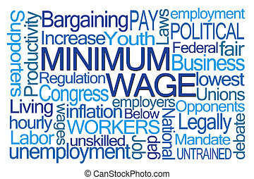Minimum Wage Word Cloud on White Background