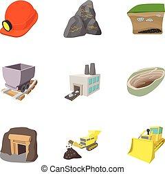 Mining activities icons set, cartoon style